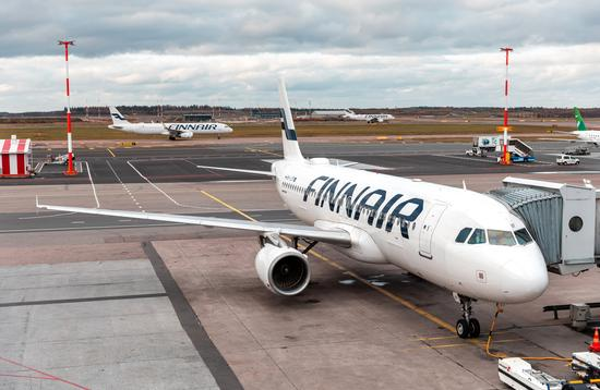 Finnair plane at Helsinki Airport