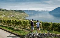 Cycling near Lake Geneva in Switzerland