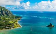 Aerial view of Kualoa Point and Chinamans Hat, Kaneohe Bay (PHOTO: Photo via PB57photos / iStock / Getty Images Plus)
