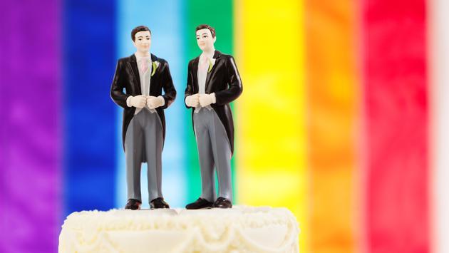 Same Sex Marriage Wedding Cake with Rainbow Flag