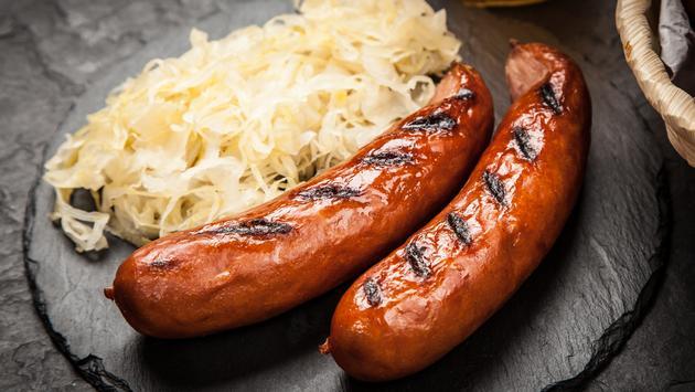 bratwurst, sauerkraut, food, sausage