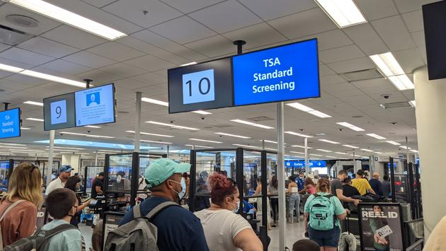 TSA line at Orlando Airport