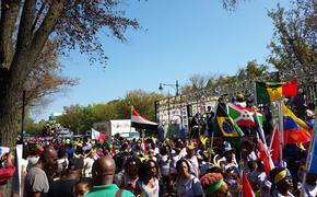 West Indian American Day parade on Eastern Parkway, Brooklyn, NY.