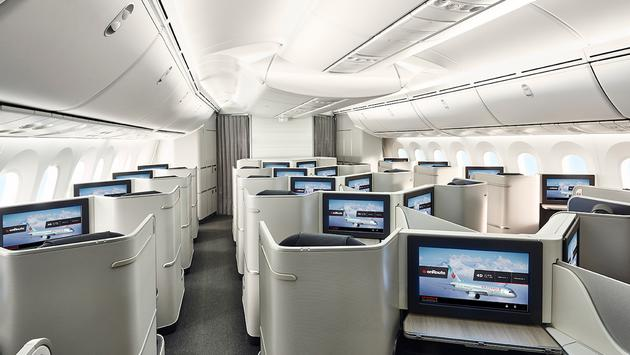 Air Canada International Business Class cabin on the Boeing 787 Dreamliner