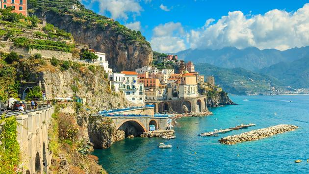 Panoramic view of Amalfi and harbor, Italy, Europe