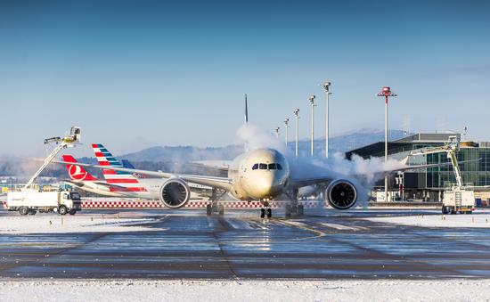 plane, snow, airport