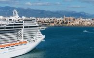 Cruise ship moored at the port of Palma de Mallorca