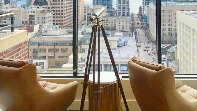 A suite with downtown view and spyglass at Hotel Theodore Seattle
