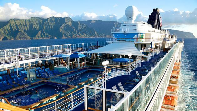 Norwegian Cruise Line's Pride of America off the Na Pali Coast in Hawaii