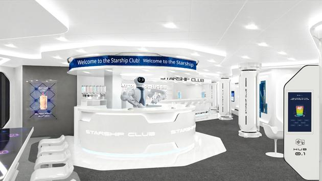 MSC Starship Club featuring Rob, the first-ever humanoid, robotic bartender at sea.