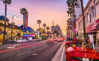 Hollywood Boulevard in Los Angeles at dusk