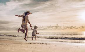 mother, son, children, single parent, beach, family travel