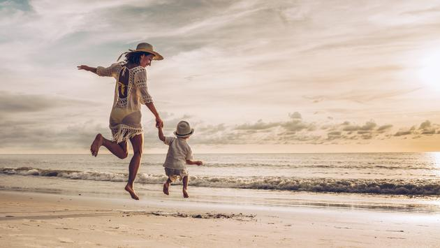 mother, son, children, single parent, beach, family travel