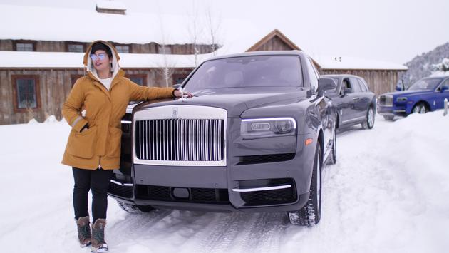 woman, rolls royce, luxury, travel, ranch, snow