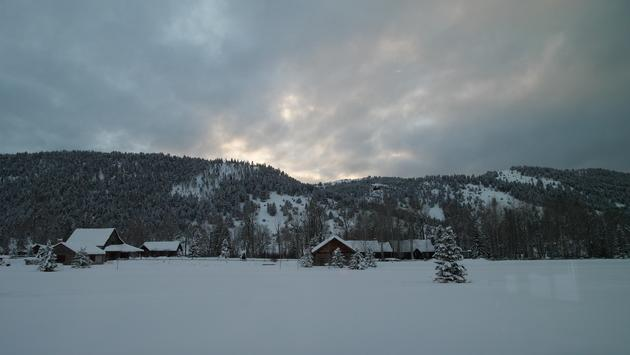 ranch, sunset, snow, montana