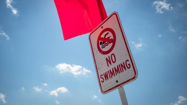 sign, swimming beach