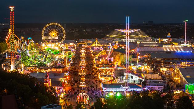 View of the Oktoberfest in Munich at night