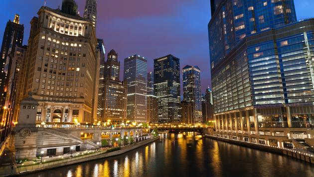 Downtown Chicago riverside at night