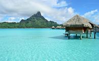 Luxury overwater vacation resort on Bora Bora island