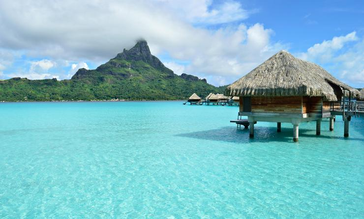 Luxury overwater vacation resort on Bora Bora island