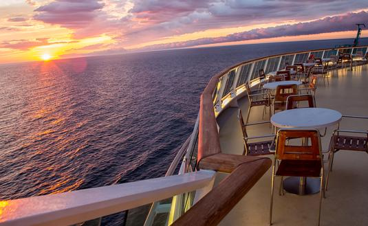 Cruise ship deck at sunset