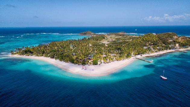 Aerial view of Palm Island Resort & Spa, the Grenadines