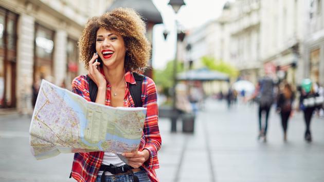 traveling, woman, map, city