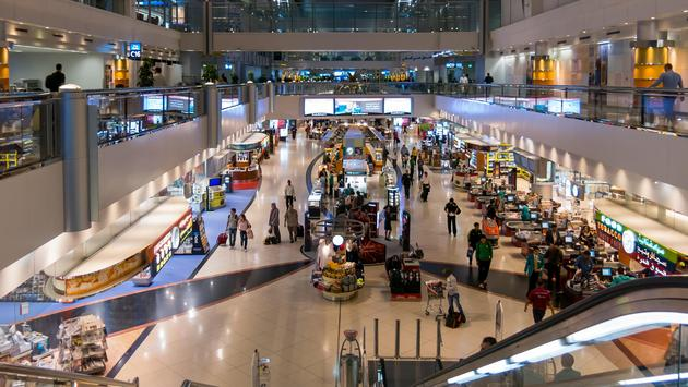 Shopping area inside Dubai International Airport