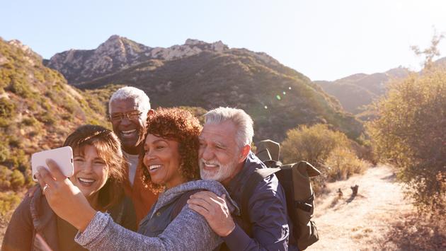 Senior friends travel
