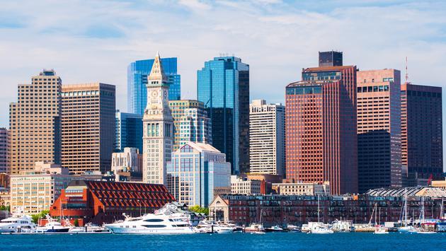 Boston skyline viewed from harbor