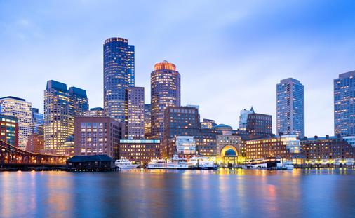 Financial District Skyline and Harbor at Dusk in Boston