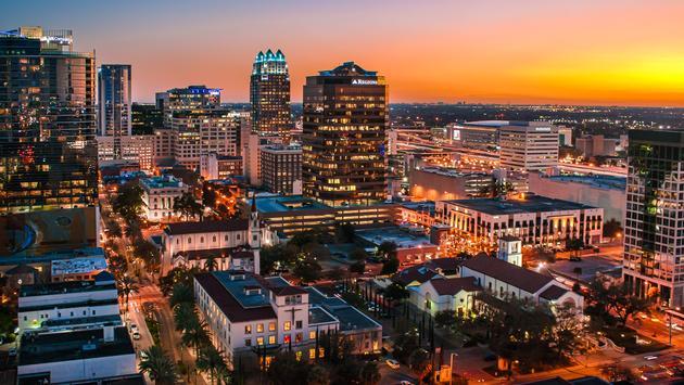 Downtown Orlando, Florida skyline at sunset