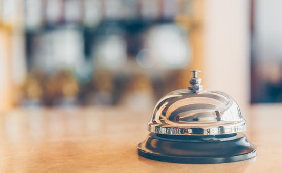 Service bell at a hotel front desk