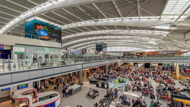 A busy terminal inside London's Heathrow Airport