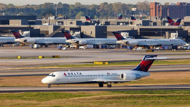 A Delta Air Lines Boeing 717-200 at Atlanta's Hartsfield-Jackson International Airport