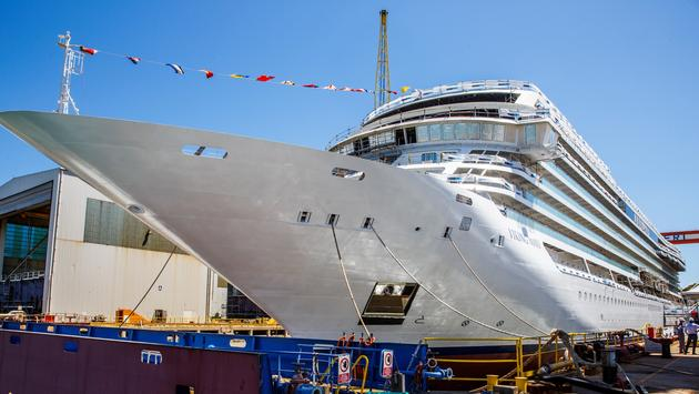 Viking Mars is floated out at the Fincantieri shipyard in Ancona, Italy.