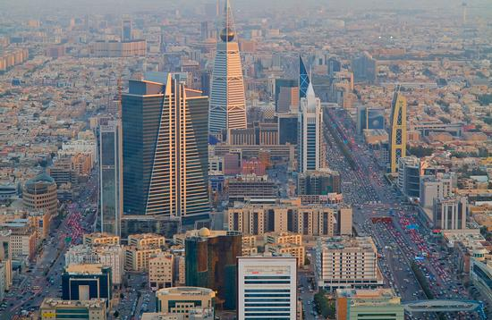 Aerial view of Riyadh downtown on February 29, 2016 in Riyadh, Saudi Arabia.
