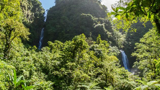 Two waterfalls on Dominica