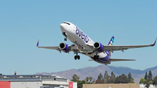 Avelo Airlines plane takes off from Hollywood Burbank Airport