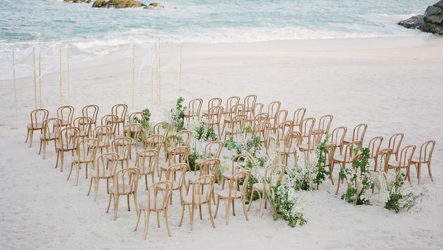 A beach wedding set up at Grand Velas Los Cabos