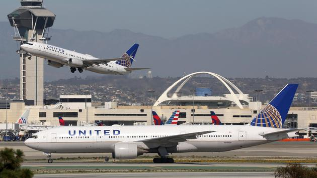 United Airlines planes at Los Angeles International Airport
