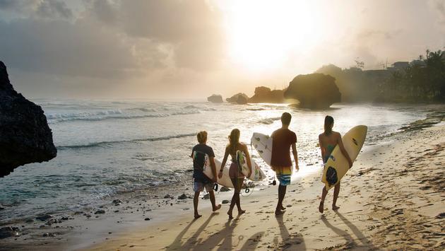 surfing in Bathsheba, Barbados