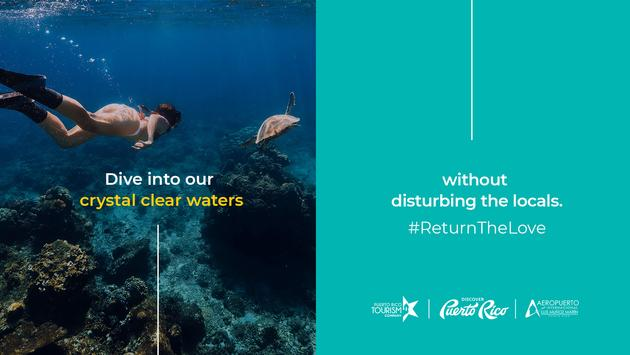 """Discover Puerto Rico's """"Return the Love"""" Campaign poster encouraging responsible ocean activities."""