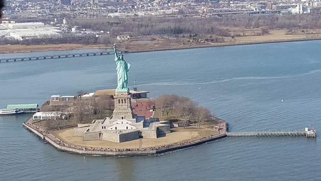 The Statue of Liberty, seen during a helicopter tour with Liberty Helicopter Sightseeing Tours