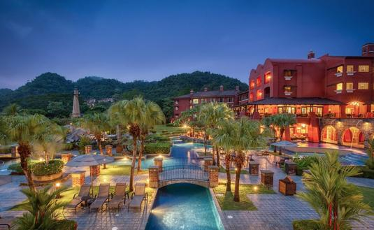 Aerial pool view of Los Suenos Marriott Ocean & Golf Resort in Costa Rica