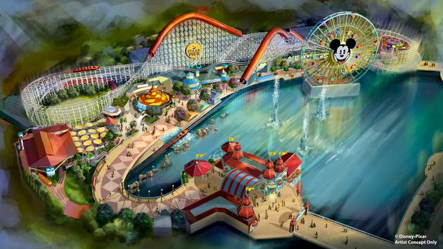 Aerial view of Pixar Pier at Disneyland California Adventure.