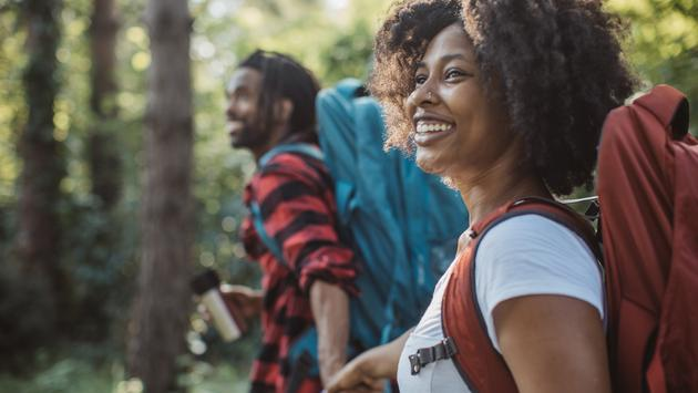 couple, black travelers, hike, forest