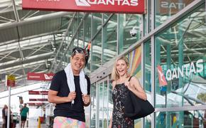Travelers ready for the Qantas Mystery Flight Experiences.