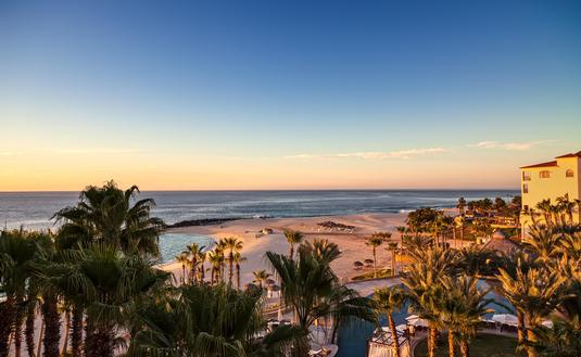 Sun rising over the Sea of Cortez in Los Cabos, Mexico