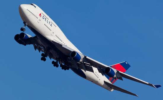 Delta Air Lines Boeing 747 takes off from John F. Kennedy International Airport in New York City